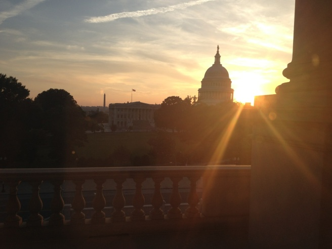 The sunsets over the Capitol Building. View from the Library of Congress.